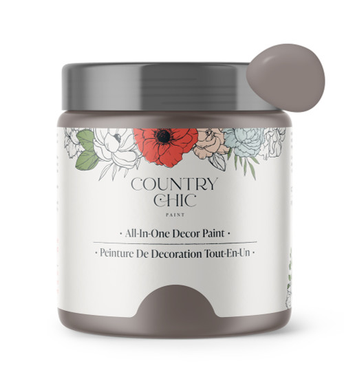 16oz jar of Country Chic Chalk Style All-In-One Paint in the color Piece of Cake. Muted lavender.