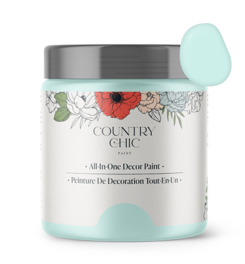 16oz jar of Country Chic Chalk Style All-In-One Paint in the color Icicle. Light blue.