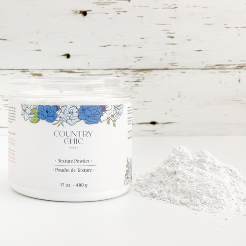 Country Chic Paint texture powder with pile of powder next to open jar