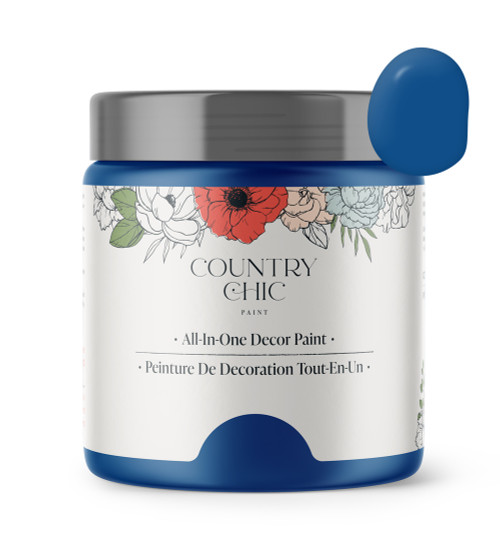 16oz jar of Country Chic Chalk Style All-In-One Paint in the color Bling Bling. Electric blue.