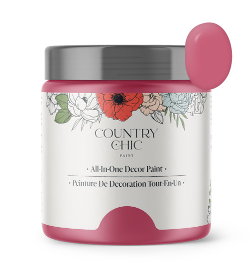 16oz jar of Country Chic Chalk Style All-In-One Paint in the color Cherry Blossom. Bold pink.