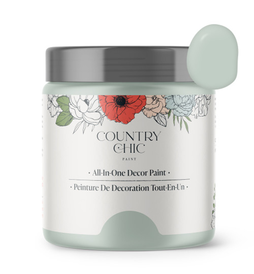 16oz jar of Country Chic Chalk Style All-In-One Paint in the color Happy Hour. Minty Green.