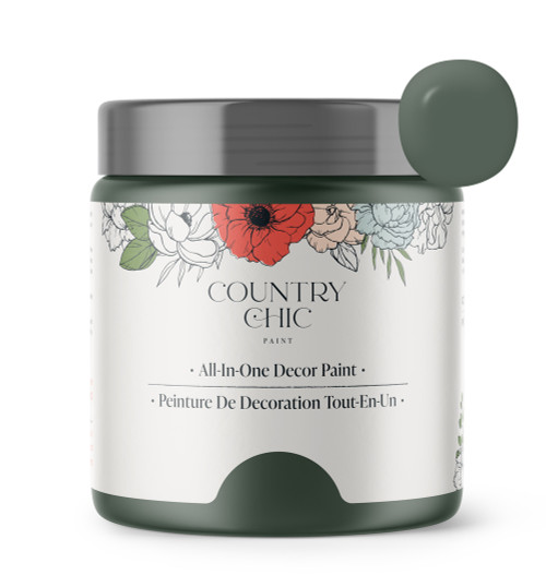 16oz jar of Country Chic Chalk Style All-In-One Paint in the color Hollow Hill. Dark green.