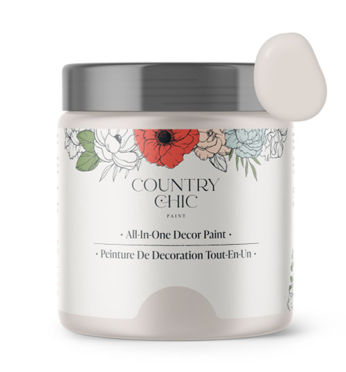 16oz jar of Country Chic Chalk Style All-In-One Paint in the color Darling. Pastel pink.