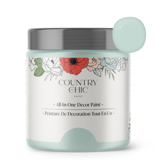 16oz jar of Country Chic Chalk Style All-In-One Paint in the color Fancy Frock. Icy blue.