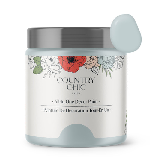 16oz jar of Country Chic Chalk Style All-In-One Paint in the color Belle of the Ball. Pastel blue.