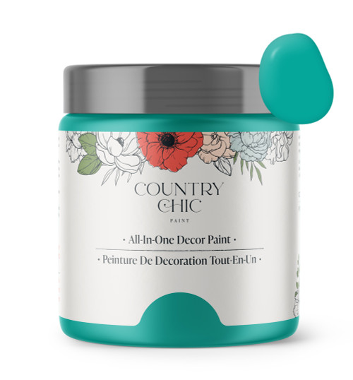 16oz jar of Country Chic Chalk Style All-In-One Paint in the color Whoop-de-do. Peacock teal.