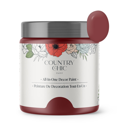 16oz jar of Country Chic Chalk Style All-In-One Paint in the color Cranberry Sauce. Berry red.