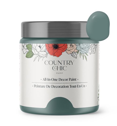 16oz jar of Country Chic Chalk Style All-In-One Paint in the color Wanderess. Deep sea green.
