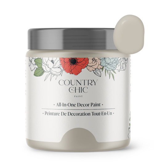 16oz jar of Country Chic Chalk Style All-In-One Paint in the color Pop the Bubbly. Light beige.
