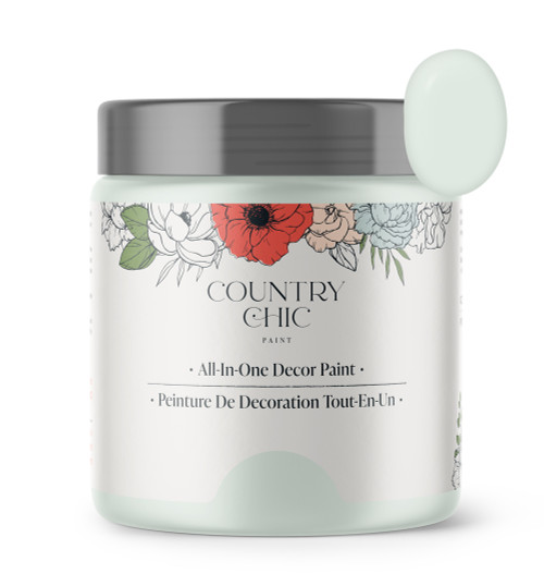 16oz jar of Country Chic Chalk Style All-In-One Paint in the color String of Pearls. Pale green.