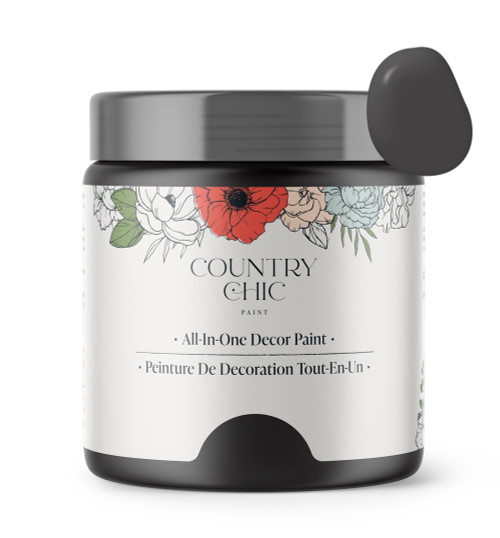 16oz jar of Country Chic Chalk Style All-In-One Paint in the color Liquorice. Deep charcoal.