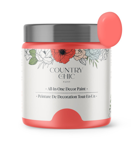16oz jar of Country Chic Chalk Style All-In-One Paint in the color Full Bloom. Bright coral.