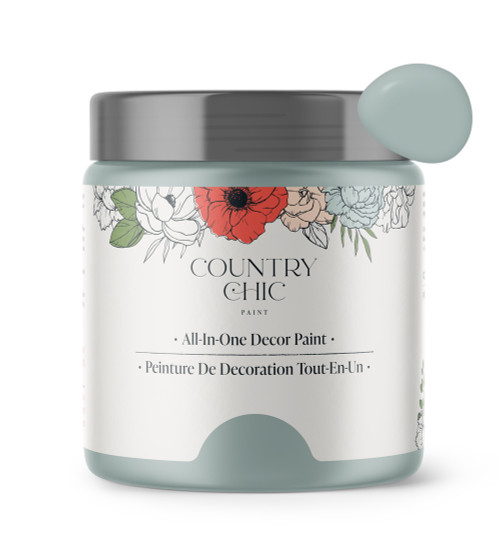 16oz jar of Country Chic Chalk Style All-In-One Paint in the color Elegance. Dusty blue.
