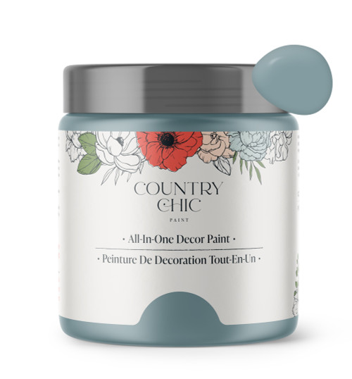 16oz jar of Country Chic Chalk Style All-In-One Paint in the color Nightfall. French blue.