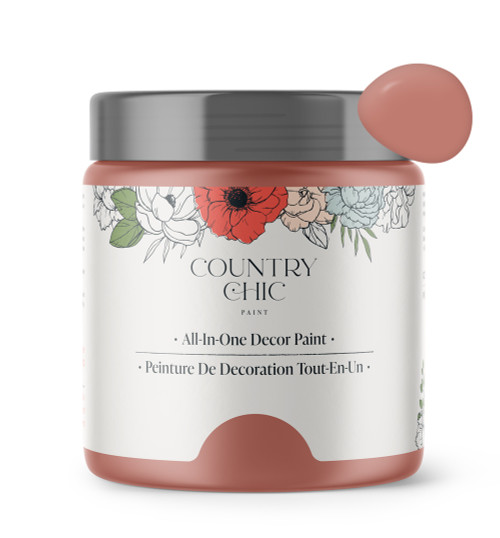 16oz jar of Country Chic Chalk Style All-In-One Paint in the color Peachy Keen. Muted coral.