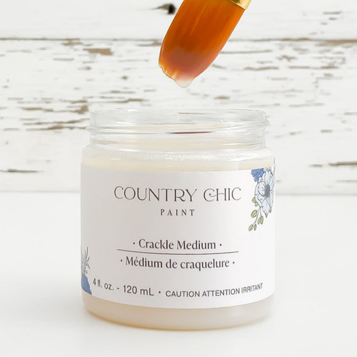 Jar of Country Chic Paint Crackle Medium with small artist paint brush dipped in
