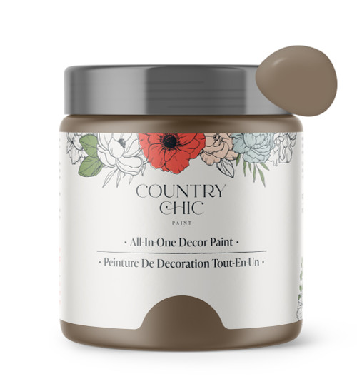 16oz jar of Country Chic Chalk Style All-In-One Paint in the color Canape. Warm brown