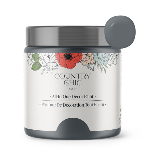 16oz jar of Country Chic Chalk Style All-In-One Paint in the color Hurricane. Cool grey.