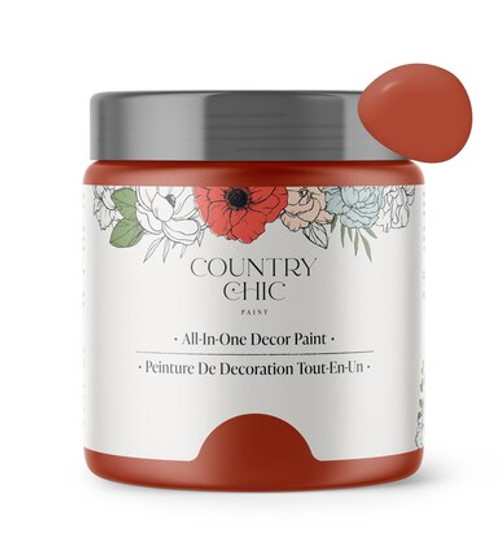 16oz jar of Country Chic Chalk Style All-In-One Paint in the shade Sparklers. A swatch of paint is in the top corner.