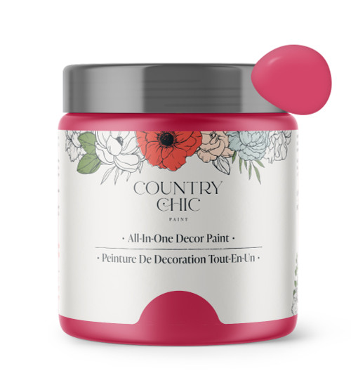 16oz jar of Country Chic Chalk Style All-In-One Paint in the color Raspberry Sorbet. Deep pink.