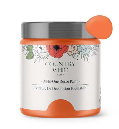 16oz jar of Country Chic Chalk Style All-In-One Paint in the color Persimmon. Citrus orange.