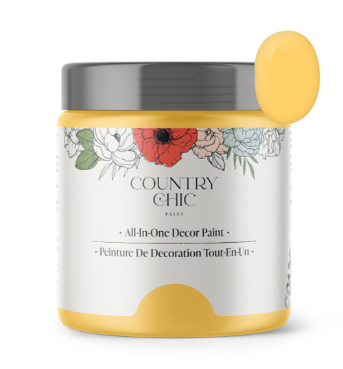 16oz jar of Country Chic Chalk Style All-In-One Paint in the color Yellow Wellies. Sunflower Yellow.