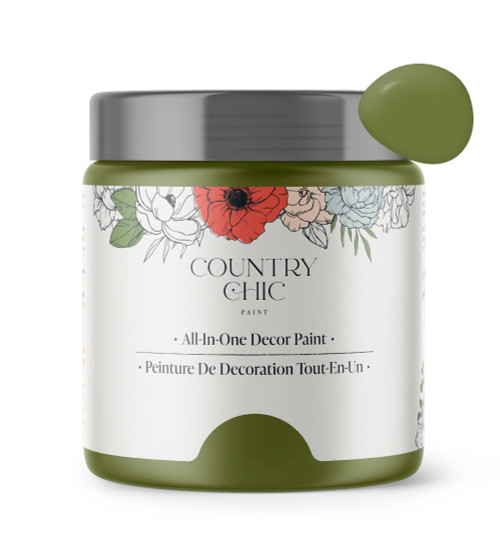 16oz jar of Country Chic Chalk Style All-In-One Paint in the color Secret Garden. Forest Green