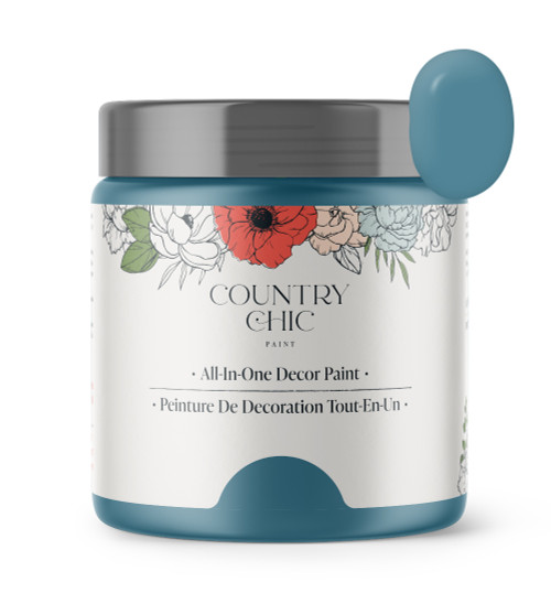 16oz jar of Country Chic Chalk Style All-In-One Paint in the color Tide Pool. Tealish-ocean blue.