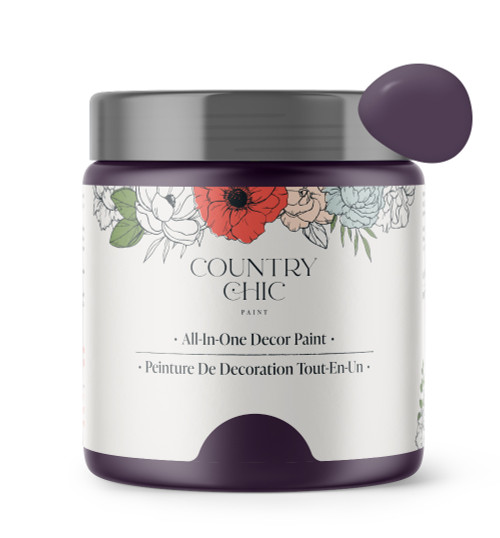 16oz jar of Country Chic Chalk Style All-In-One Paint in the color Opulence. Deep purple.