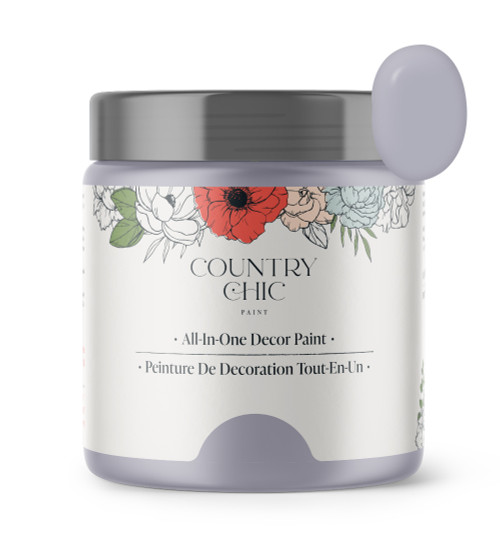 16oz jar of Country Chic Chalk Style All-In-One Paint in the color Wisteria. Lilac-grey.