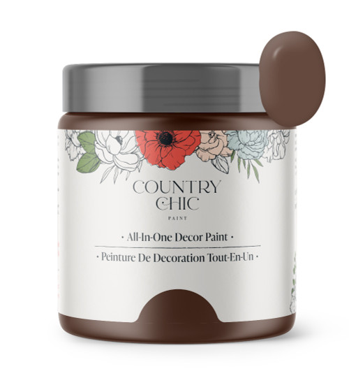 16oz jar of Country Chic Chalk Style All-In-One Paint in the color Leather Bound. Chocolate brown.