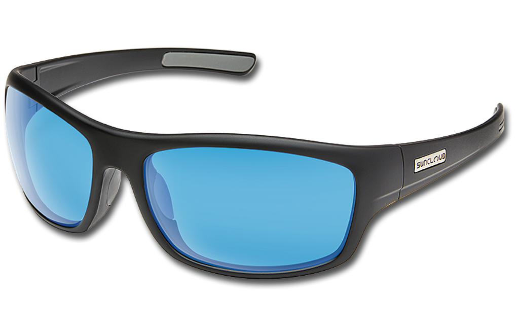 Suncloud Cover Polarized Sunglasses - Matte Black/Polar Blue Mirror