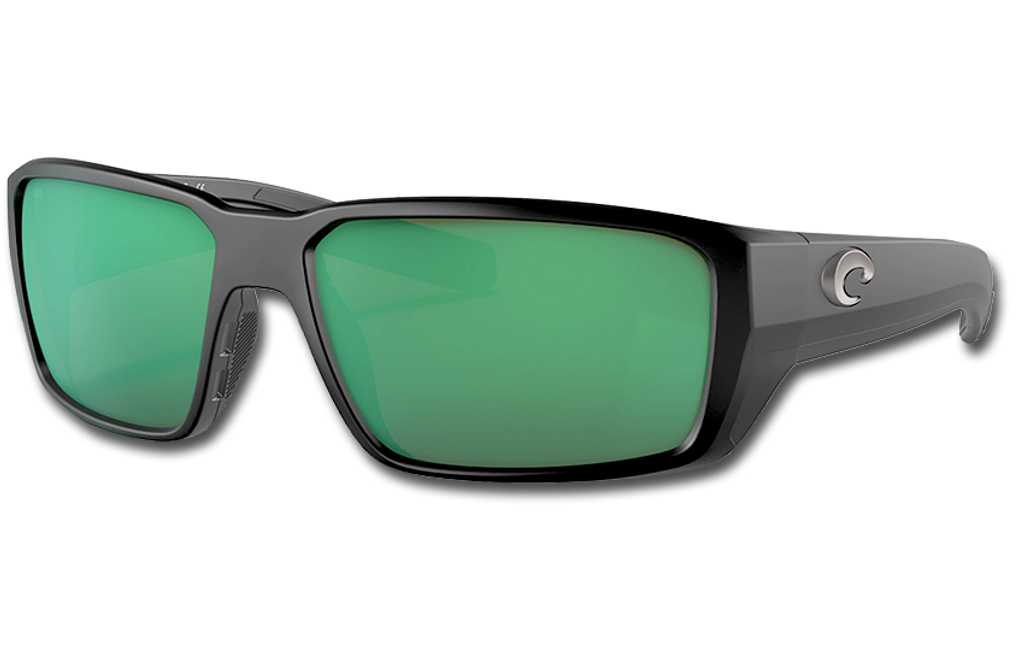 Fantail Pro Polarized Glass 580 Sunglasses - Matte Black/Green Lightwave Glass