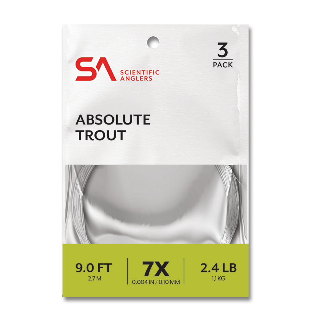 """Scientific Anglers Absolute 9'0"""" Trout Leaders - 3 Pack"""