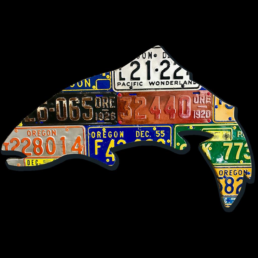 Antique Oregon Trout License Plate Art