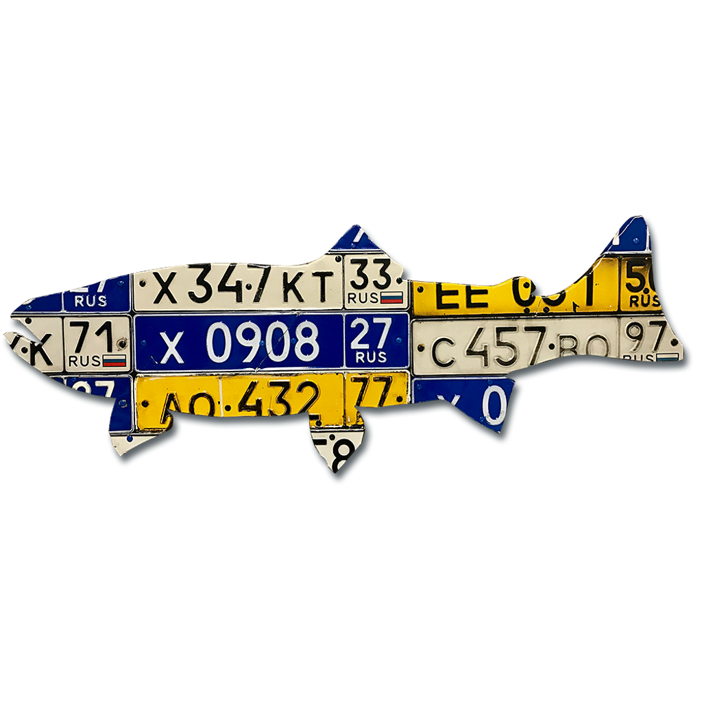 Russian Trout License Plate Art