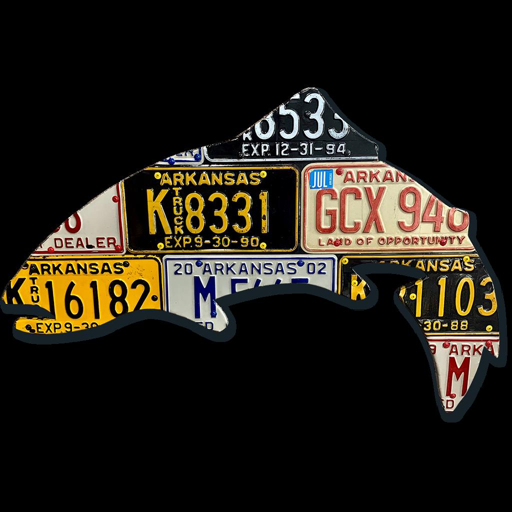 Antique Arkansas Trout License Plate Art