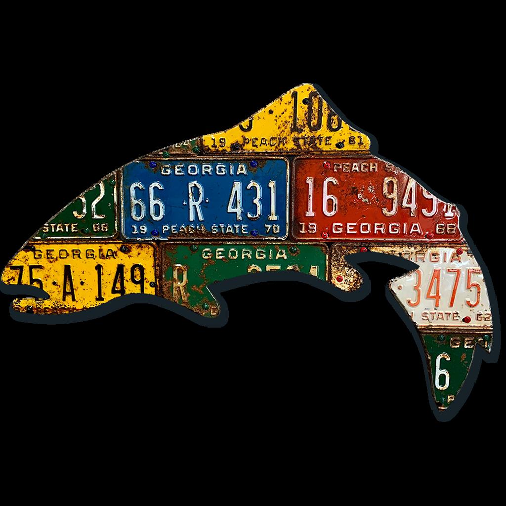 Antique Georgia Trout License Plate Art