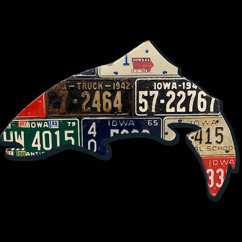 Antique Iowa Trout License Plate Art