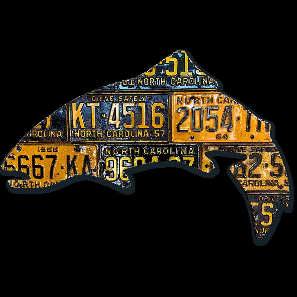 Antique North Carolina Trout License Plate Art