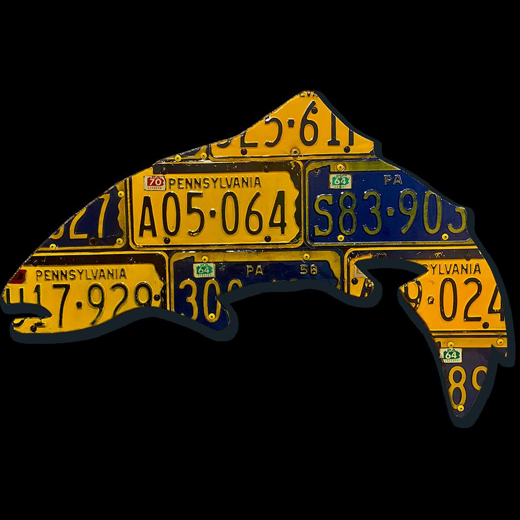 Vintage Pennsylvania Trout License Plate Art