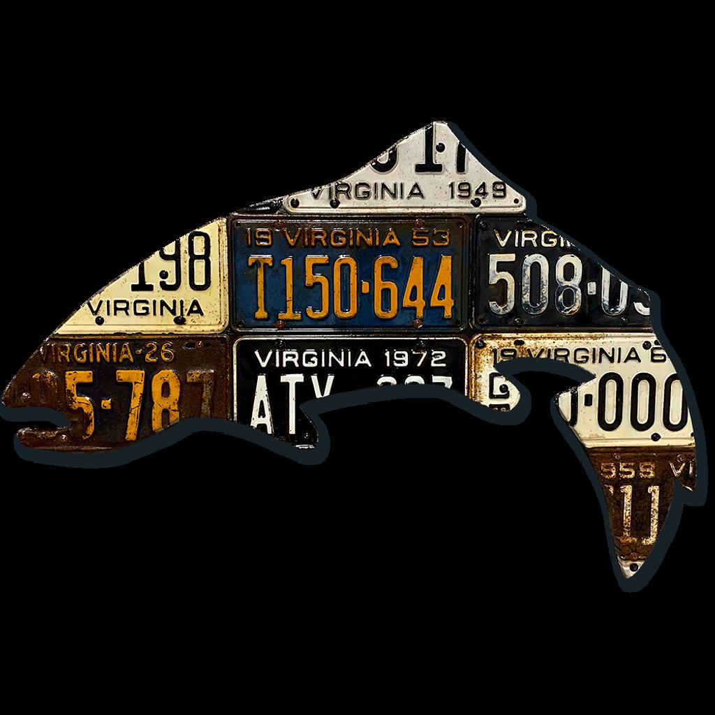 Antique Virginia Trout License Plate Art
