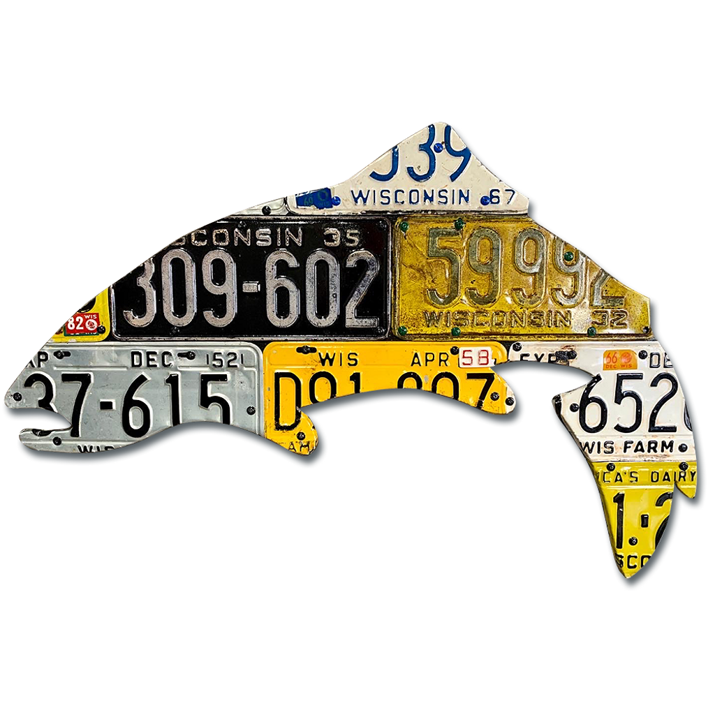 Antique Wisconsin Trout License Plate Art