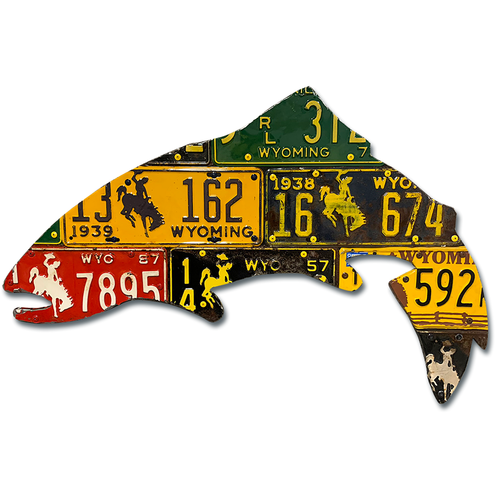 Antique Wyoming Trout License Plate Art