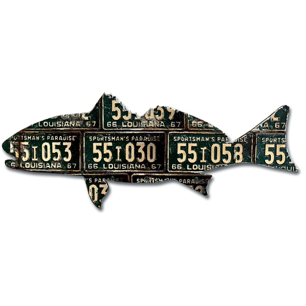 Louisiana Antique Redfish License Plate Art