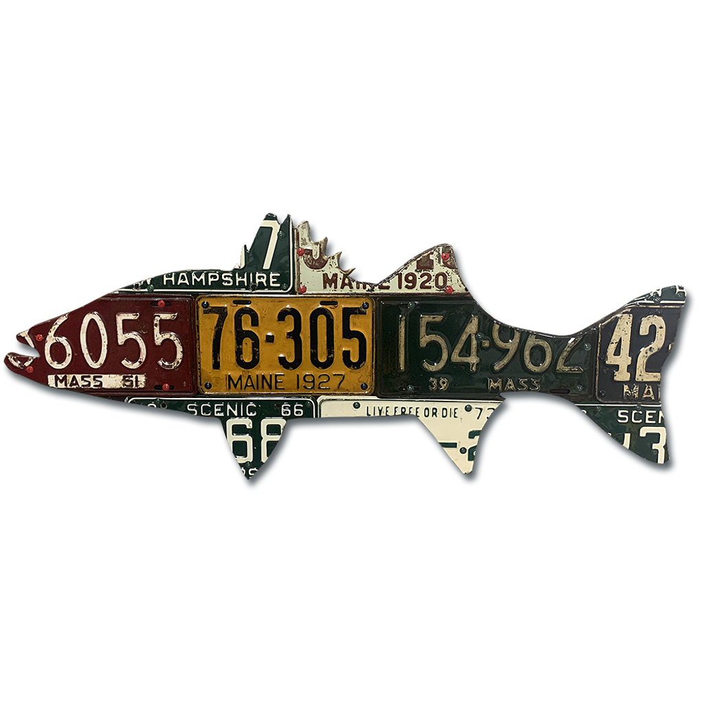 New England Striped Bass License Plate Art