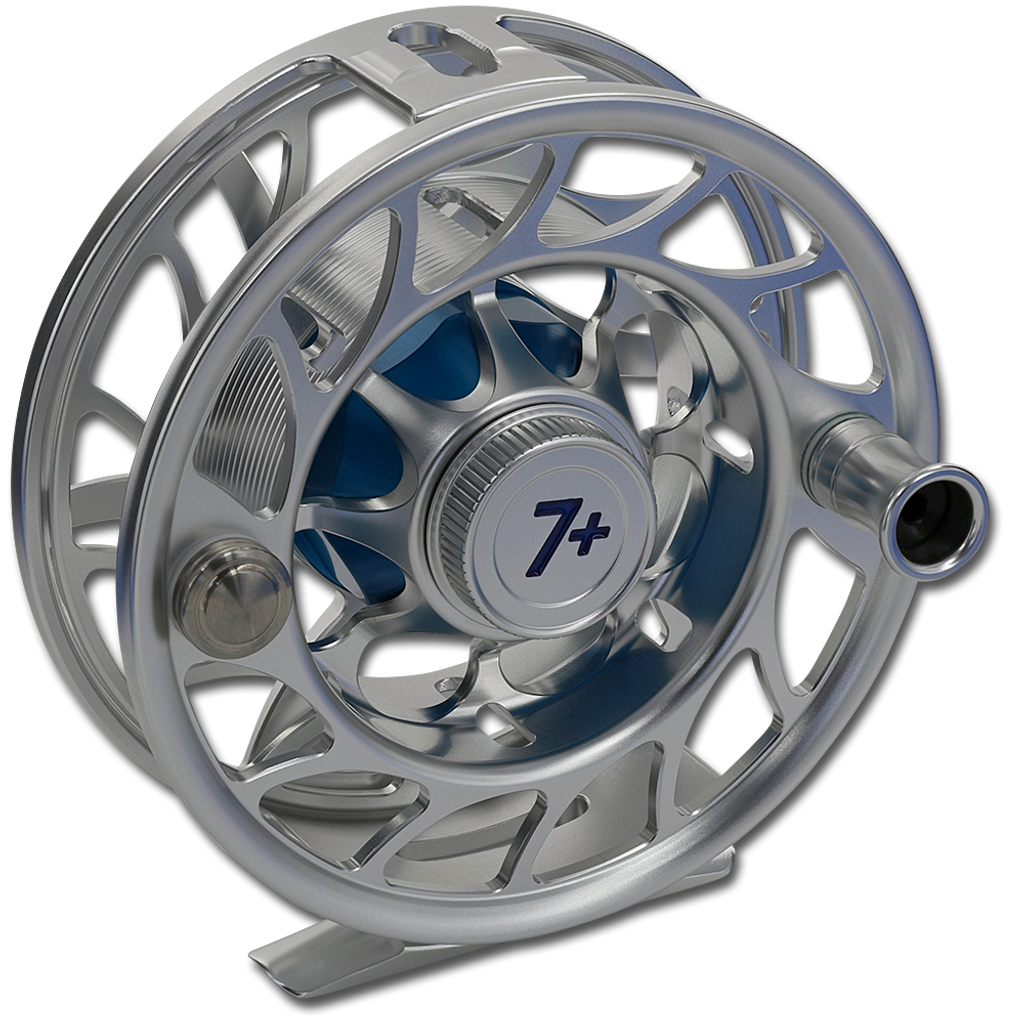 Hatch Iconic Fly Reels - Clear/Blue (Front)