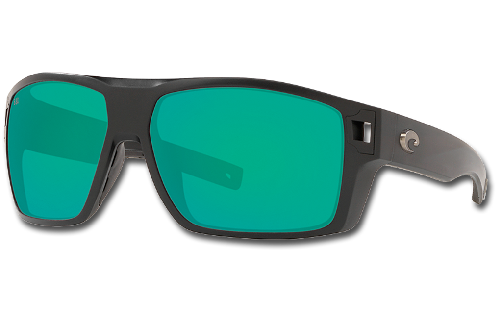 Diego Polarized Glass 580 Sunglasses - Matte Black/Green Lightwave Glass