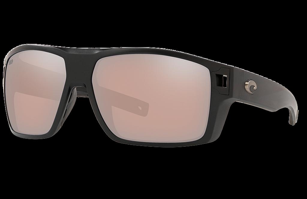 Diego Polarized Glass 580 Sunglasses - Matte Black/Copper Silver Lightwave Glass